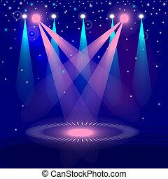 arrière-plan bleu, projecteur, à, laser, rayons