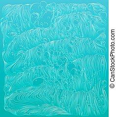 arrière-plan bleu, résumé, pattern., océan, vecteur, ornements, vague, waves., illustration.