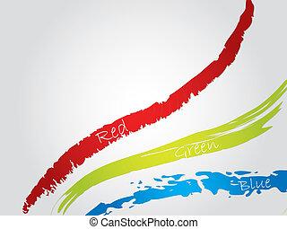 arrière-plan bleu, rouge vert, éclaboussure
