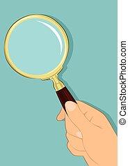 arrière-plan bleu, sur, main, verre, tenue, mâle, magnifier