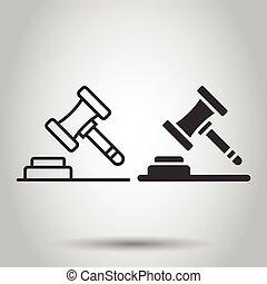 arrière-plan., business, style., icône, isolé, signe, enchère, tribunal, vecteur, plat, tribunal, concept., blanc, marteau, illustration