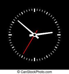 arrière-plan., cadran, vecteur, noir, horloge