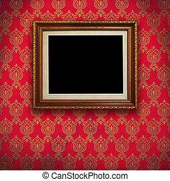 arrière-plan., cadre, papier peint, rouges, or