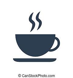 arrière-plan., café, icône, tasse blanche