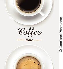 arrière-plan., café, tasse blanche