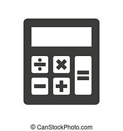 arrière-plan., calculatrice, blanc, icône