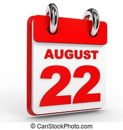 arrière-plan., calendrier, blanc, août, 22