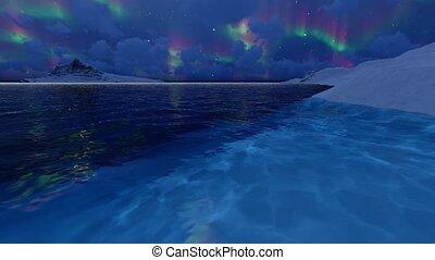 arrière-plan., canada, borealis., lumières, paysage, nuit, nord, mer, alaska, aurore, sombre, arctique, nord, nature, pole., lumières, hiver