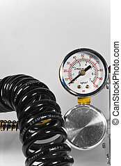 arrière-plan., canaux transmission, pression, noir, jauge, blanc, compresseur