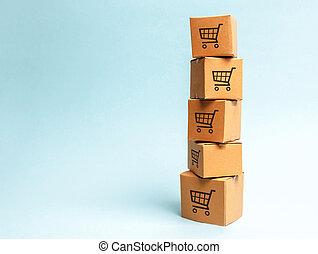 arrière-plan., carton, ligne, logistique, distribution, commerce, modèle, livraison, tour, puissance, achat, e-commerce, boîtes, bleu, shopping., sales., chariots, order.