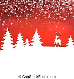 arrière-plan., cerf, paysage hiver, noël