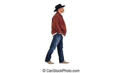 arrière-plan., chapeau, marche, paysan, blanc, personne agee