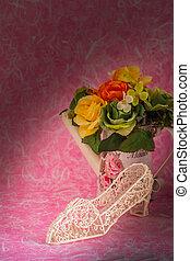 arrière-plan., chaussures, vase