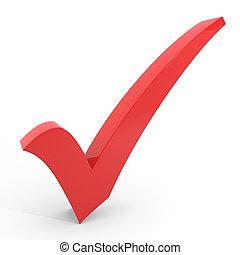 arrière-plan., checkmark, blanc rouge, 3d
