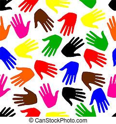 arrière-plan., coloré, seamless, mains
