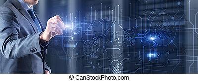 arrière-plan., communication technologie, futuriste, résumé, ingénierie, circuit, concept., planche, traitement