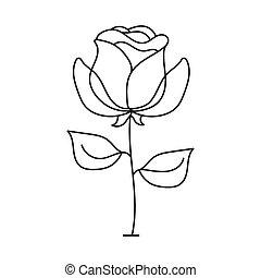 arrière-plan., contour, rose, sketch., vecteur, noir, blanc