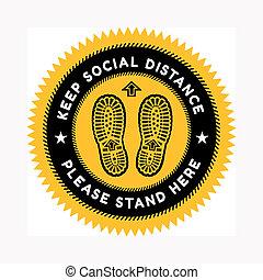 arrière-plan., contre, maintenir, chaussures, signe, estampiller, coronavirus., paire, diffusion, distance, social