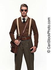 arrière-plan., contre, scoutisme, blanc, homme, uniforme, mode