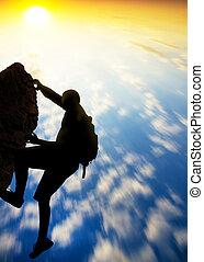 arrière-plan., coucher soleil, grimpeur, rocher