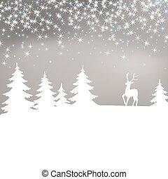 arrière-plan., deer., paysage hiver, noël