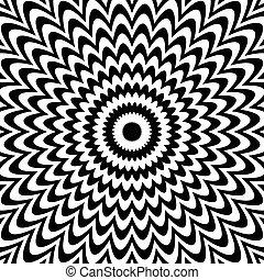 arrière-plan., deformation., noir, blanc, radial, lignes, résumé