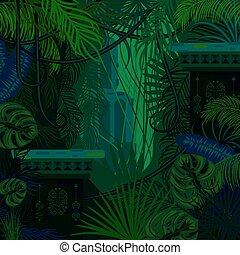 arrière-plan., dense, jungle, feuillage, nature