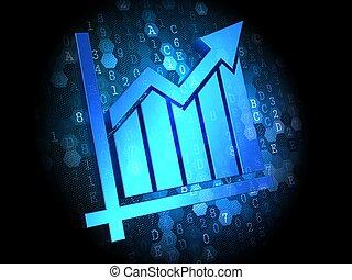arrière-plan., diagramme croissance, icône, numérique