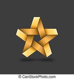 arrière-plan doré, étoile, métallique, sombre