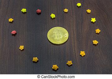 arrière-plan doré, bois, bitcoin, sucre, étoiles, monnaie