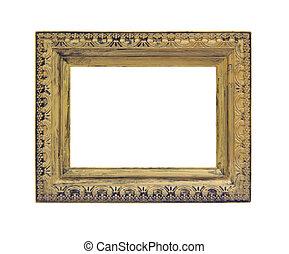 arrière-plan doré, isolé, cadre, blanc