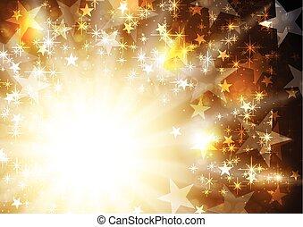 arrière-plan doré, rayons, incandescent, étoiles, orange
