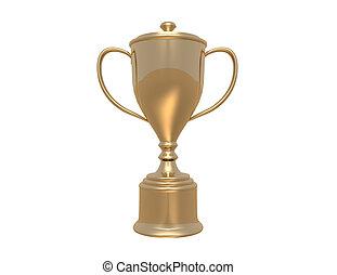 arrière-plan doré, tasse, trophée, blanc