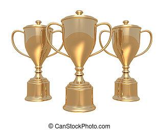 arrière-plan doré, tasses, trophée, blanc