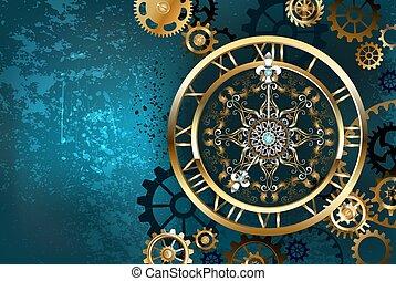 arrière-plan doré, turquoise, horloge