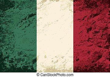 arrière-plan., drapeau, grunge, italien