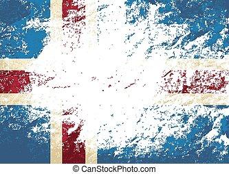 arrière-plan., drapeau, islandais, grunge