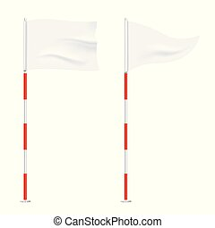 arrière-plan., drapeaux, isolé, golf
