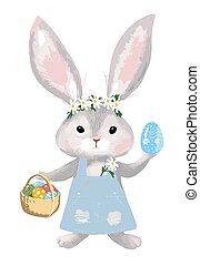 arrière-plan., dress., eggs., mignon, girl, easter., isolé, heureux, jean, panier, vecteur, illustration, lapin, dessin animé, blanc, décoré, lapin