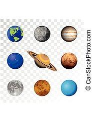 arrière-plan., ensemble, planètes, coloré, transparent