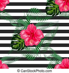 arrière-plan., exotique, seamless, pattern., feuilles,...