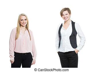 arrière-plan., femmes affaires, blanc, deux, isolé