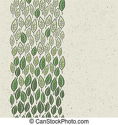 arrière-plan., feuilles, vecteur, vert, eps10