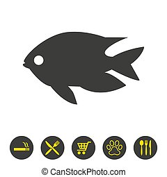 arrière-plan., fish, blanc, icône