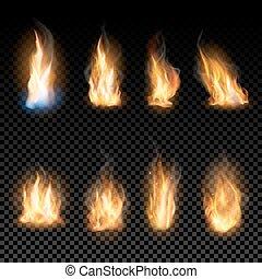 arrière-plan., flammes, brûler, transparent