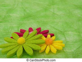 arrière-plan., fleurs, vert, sisal, printemps