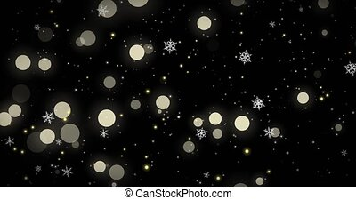arrière-plan., flocons neige, bokeh, noël, canal, render, lumières, 3d, alpha, noir, image, doré, blanc, confetti