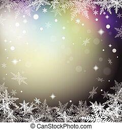 arrière-plan., flocons neige, noël, coloré