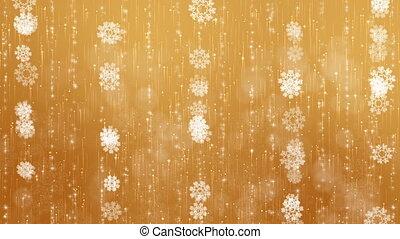 arrière-plan., flocons neige, or