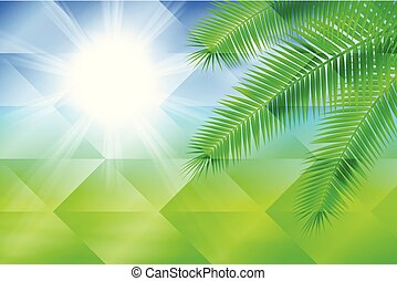arrière-plan., géométrique, palm., ensoleillé, fond